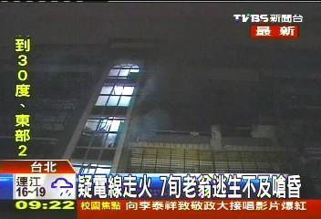 疑電線走火 7旬老翁逃生不及嗆昏