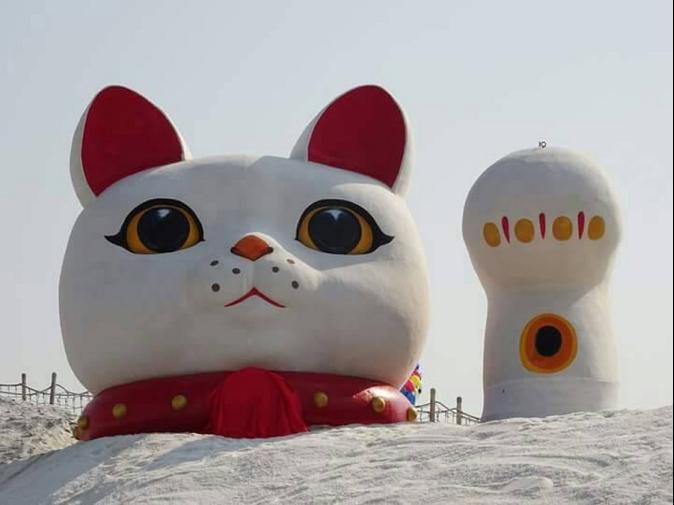 新年好運到!春節到鹽山 巨大招財貓添好運