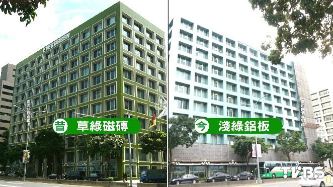長榮集團大樓「草綠變淺綠」 拉皮引聯想